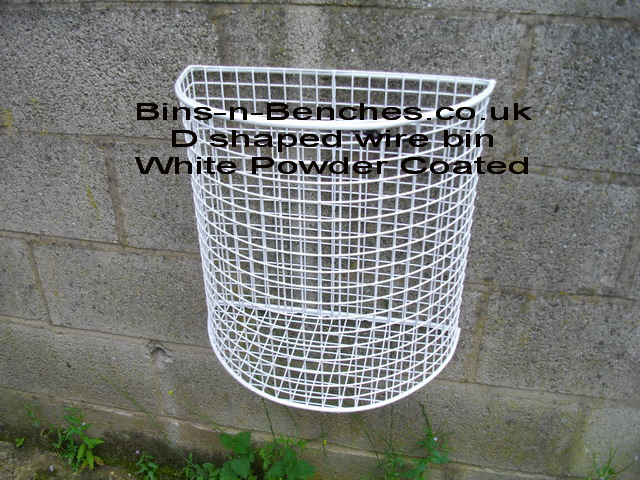 Wall mounted litter bin, white polyester coated wire mesh litter bin for use inside or outside, ideal for paper towels, can be supplied in different colours subject to minimum orders in one colour of ten bins.